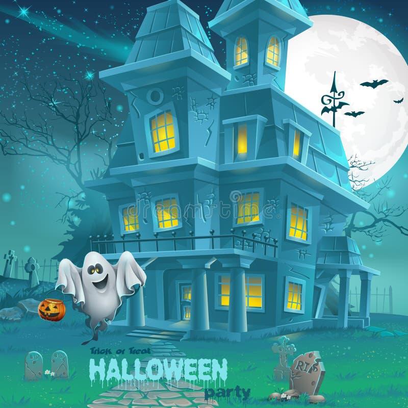 Illustrazione di una casa frequentata per Halloween per un partito con i fantasmi illustrazione vettoriale