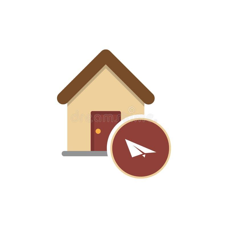 Illustrazione di una casa isolata di arte con un aereo di carta royalty illustrazione gratis