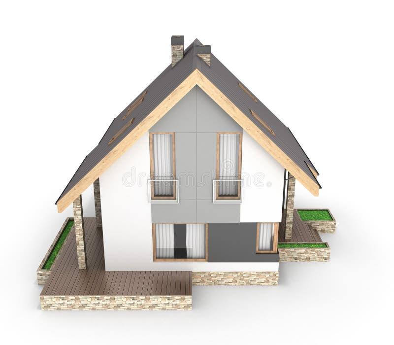 Illustrazione di una casa moderna con un garage isolato su fondo bianco 3d per rendere royalty illustrazione gratis