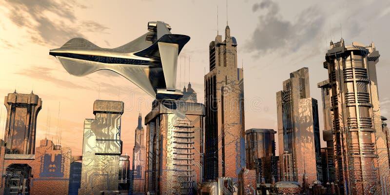 illustrazione di una città elettronica illustrazione vettoriale