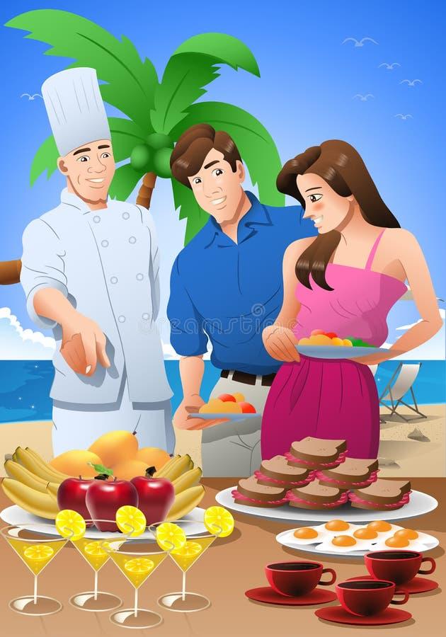 illustrazione di una coppia che va a mangiare rilassandosi durante le vacanze in spiaggia immagine stock libera da diritti