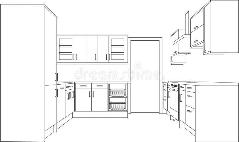 Illustrazione di una cucina misura illustrazione di stock