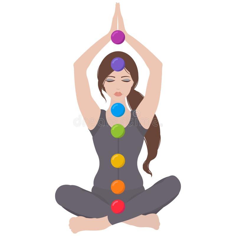 Illustrazione di una donna che si siede nella posa del loto di yoga con i chakras variopinti royalty illustrazione gratis