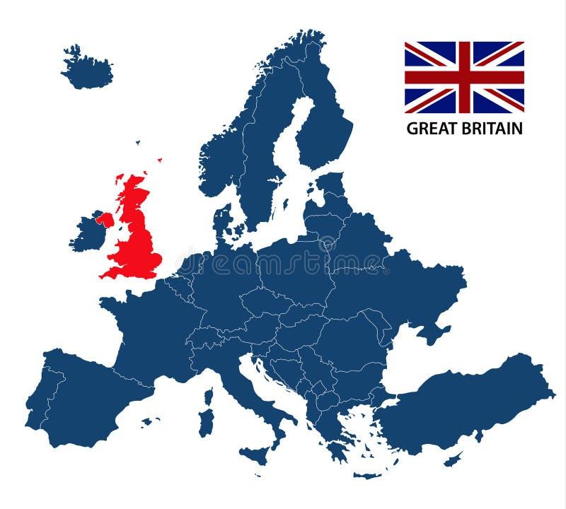 Illustrazione di una mappa di Europa con la Gran Bretagna evidenziata illustrazione di stock