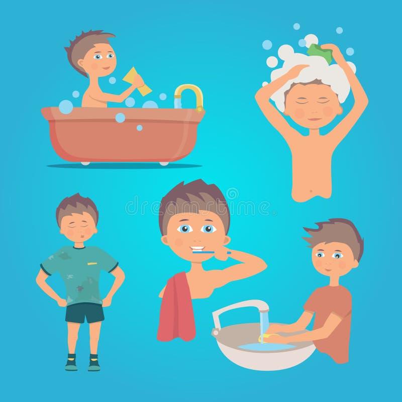 Illustrazione di una persona che fa igiene della mano Insieme di vettore illustrazione di stock