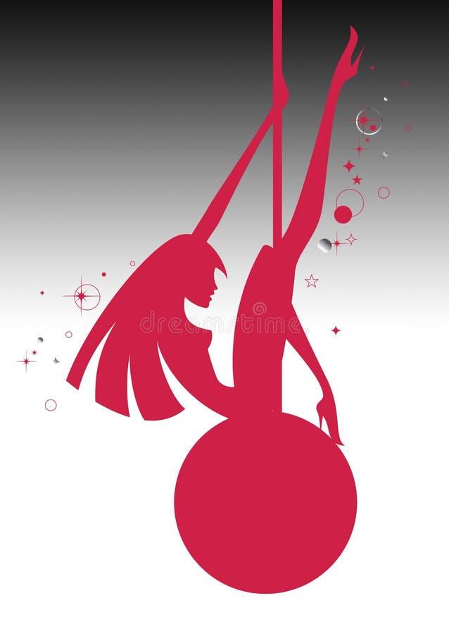 Illustrazione di una ragazza d'oscillazione sexy della siluetta su una palla illustrazione di stock