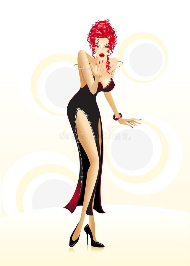 Illustrazione di una ragazza di partito sexy royalty illustrazione gratis
