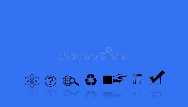 Illustrazione di una sequenza dei flussi di lavoro Lavoro nei simboli su un fondo blu immagini stock