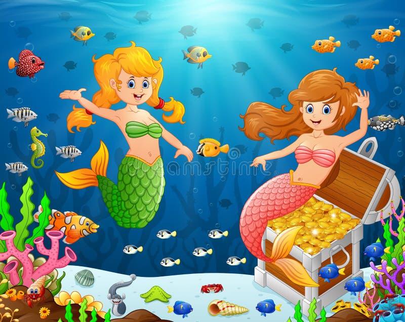 Illustrazione di una sirena sotto il mare illustrazione di stock