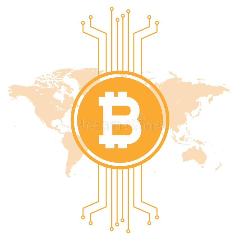 Illustrazione di uVector del cryptocurrenc di Minimalistic Bitcoin illustrazione di stock