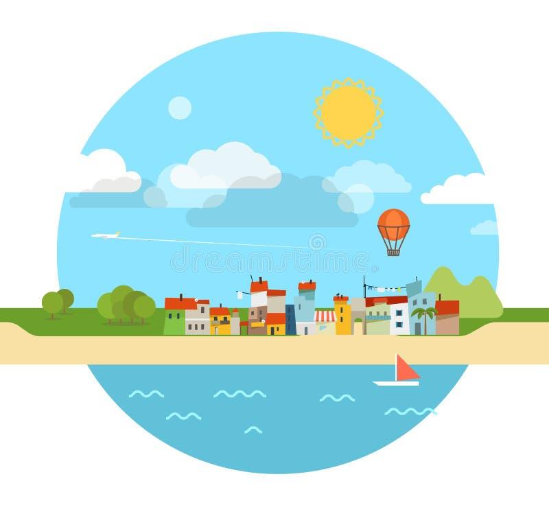 Illustrazione di vacanza della spiaggia di estate illustrazione vettoriale