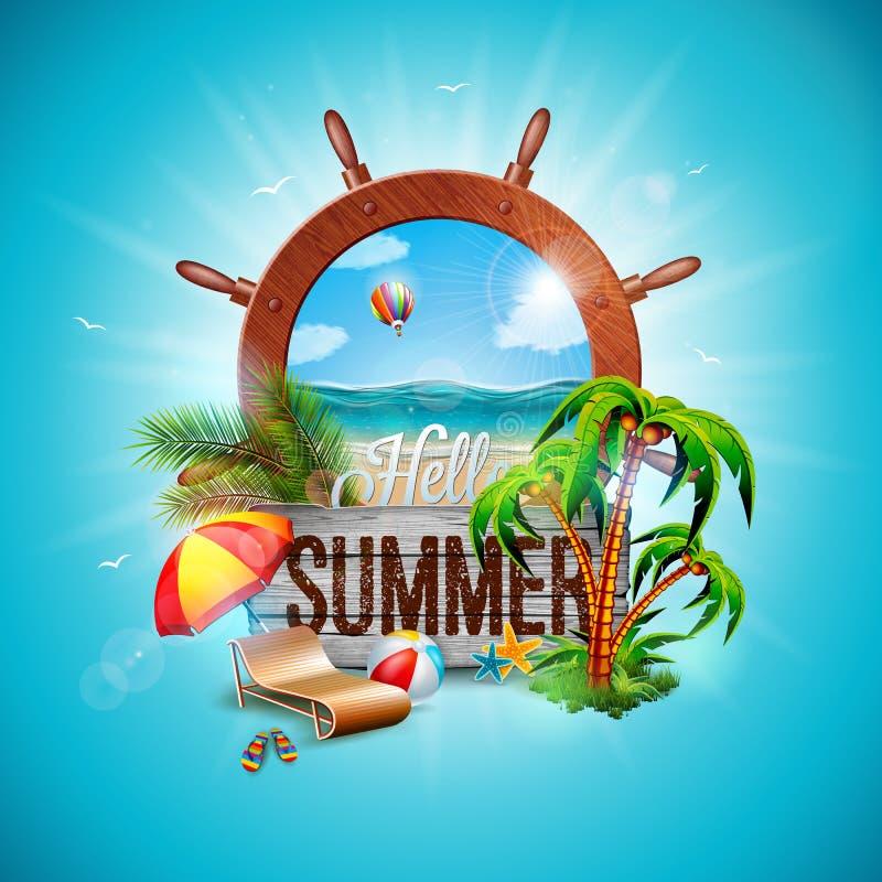 Illustrazione di vacanza estiva di vettore con il volante della nave e foglie di palma esotiche su fondo blu Legno d'annata illustrazione vettoriale