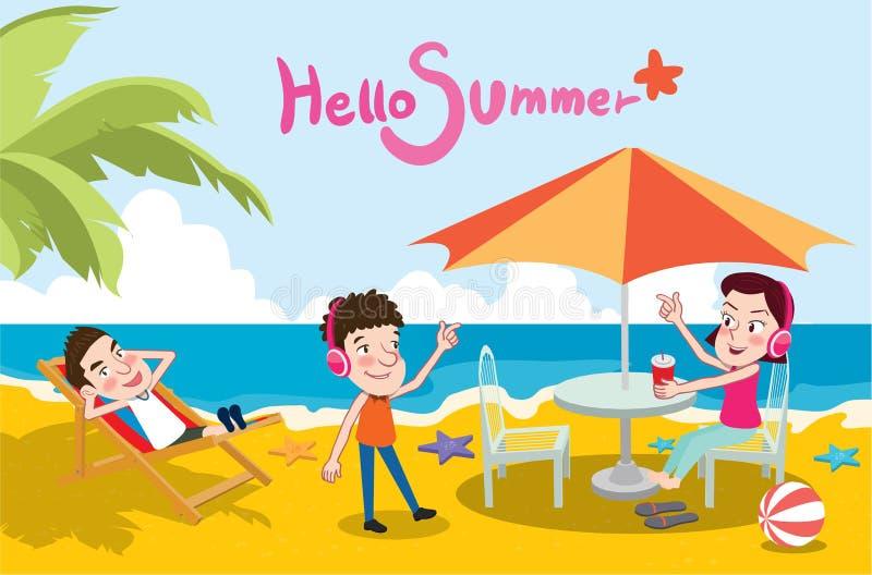Illustrazione di vacanze estive, spiaggia piana di progettazione ed ascoltare il concetto di musica illustrazione di stock