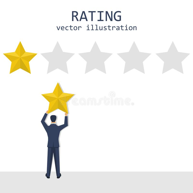 Illustrazione di valutazione di progettazione di vettore delle stelle dell'uomo d'affari fotografia stock
