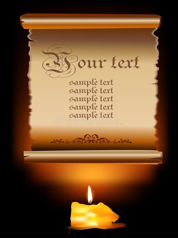 Illustrazione di vecchio rotolo di carta con la candela. illustrazione vettoriale