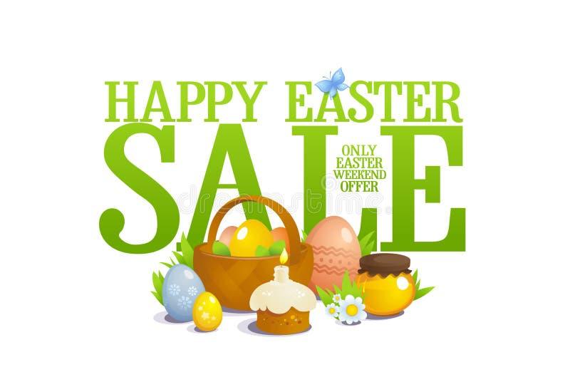 Illustrazione di vendita di Pasqua, natura morta con il canestro con le uova colorate, pasticceria e fiori royalty illustrazione gratis
