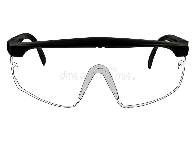 Illustrazione di vetro degli occhiali di protezione di sicurezza su bianco illustrazione di stock