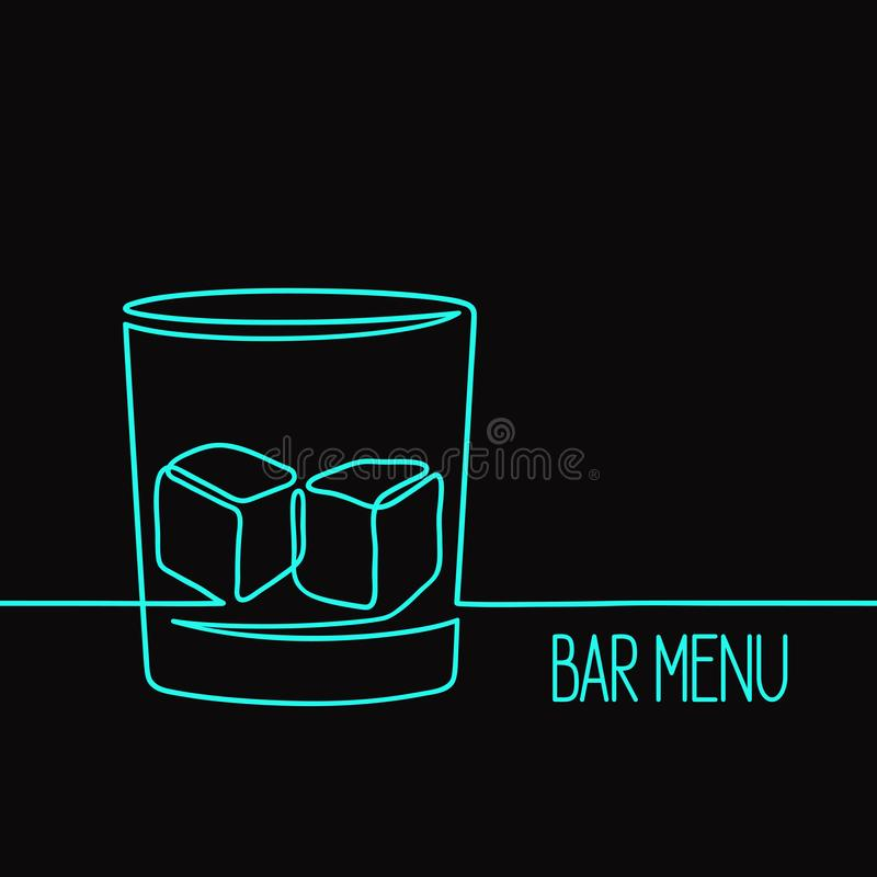 Illustrazione di vetro del whiskey lineare fotografia stock