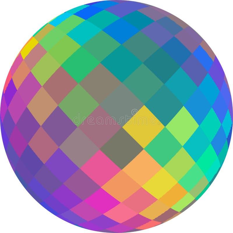 Illustrazione di vetro olografica della sfera 3d dell'arcobaleno isolata su bianco illustrazione di stock