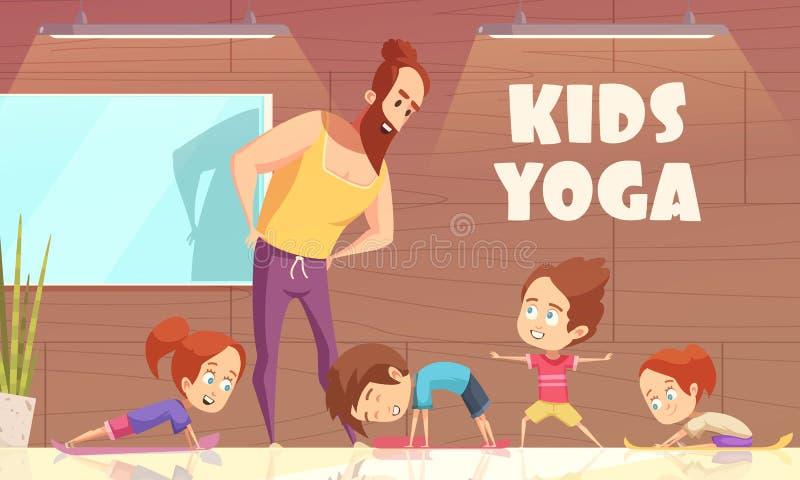 Illustrazione di vettore di addestramento di yoga dei bambini illustrazione vettoriale