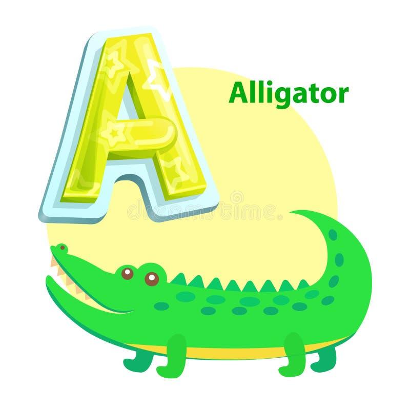 Illustrazione di vettore di alfabeto dei bambini dell'alligatore royalty illustrazione gratis