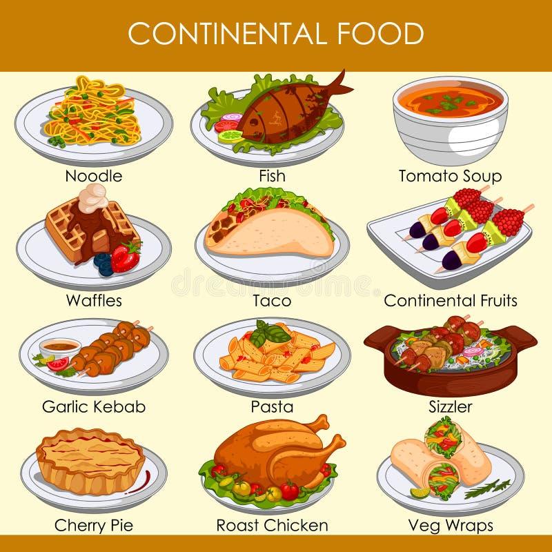 Illustrazione di vettore di alimento continentale delizioso royalty illustrazione gratis
