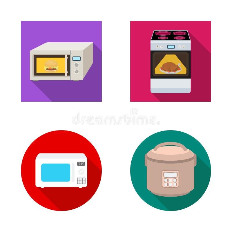Illustrazione di vettore di alimento e dentro il logo Metta dell'illustrazione di vettore delle azione del fornello e dell'alimen illustrazione vettoriale
