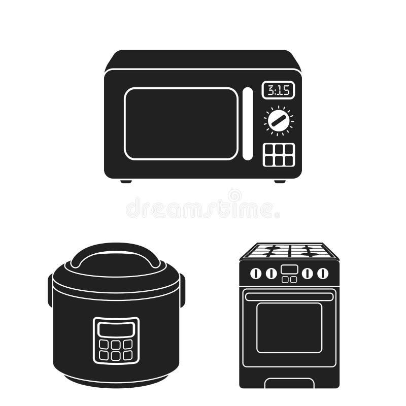 Illustrazione di vettore di alimento e dentro il logo Metta dell'icona di vettore del fornello e dell'alimento per le azione illustrazione di stock