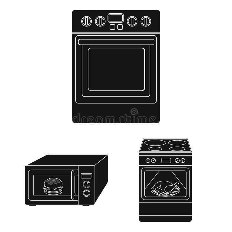 Illustrazione di vettore di alimento e dentro il logo Raccolta dell'icona di vettore del fornello e dell'alimento per le azione illustrazione di stock