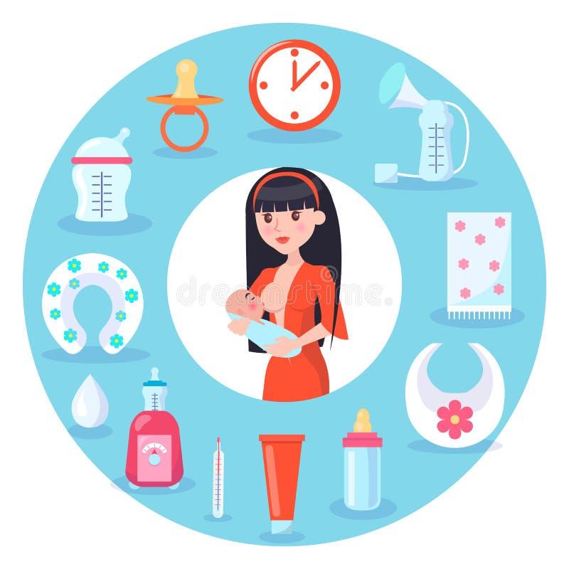 Illustrazione di vettore di allattamento al seno del bambino e della madre illustrazione vettoriale