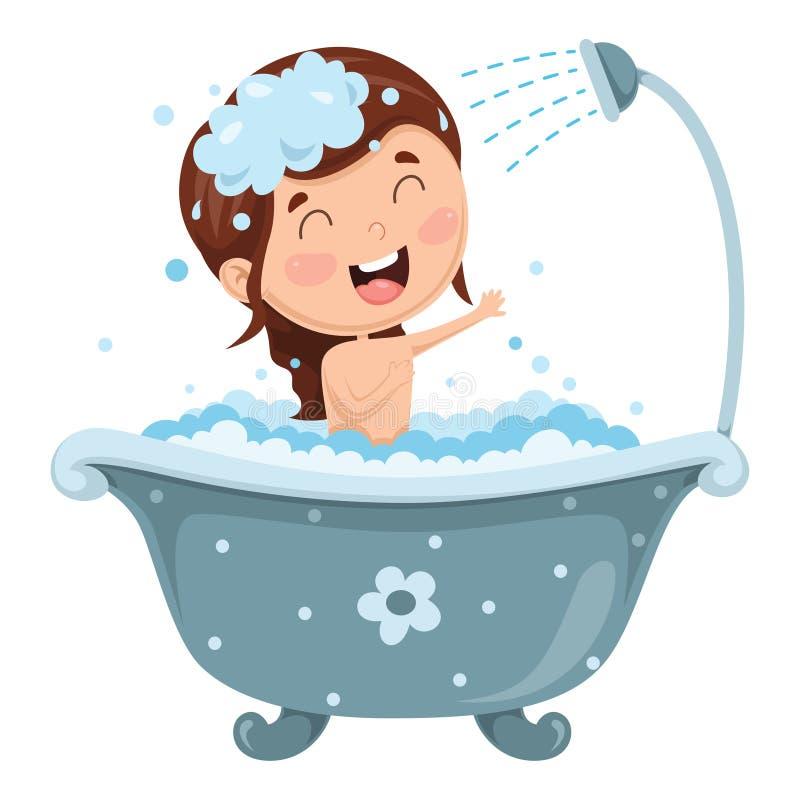 Illustrazione di vettore di bagno del bambino illustrazione di stock