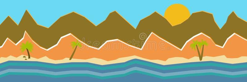 Illustrazione di vettore di bella vista panoramica Le montagne di estate con vedono o oceano, montagna di mattina, paesaggio illustrazione vettoriale
