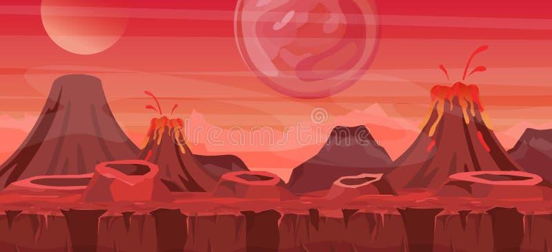 Illustrazione di vettore di bello paesaggio straniero Raffreddi un altro fondo per progettazione del gioco, pianeta straniero del illustrazione vettoriale