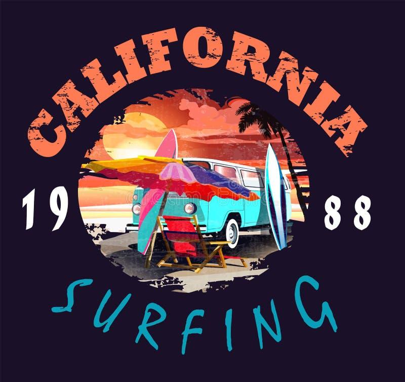 Illustrazione di vettore di California, per la stampa della maglietta ed altri usi illustrazione vettoriale