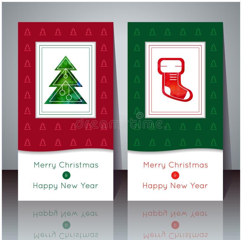 Illustrazione di vettore Cartolina d'auguri anno di nuovo e di natale Carte di inverno con l'albero di Natale ed il calzino di Na illustrazione di stock