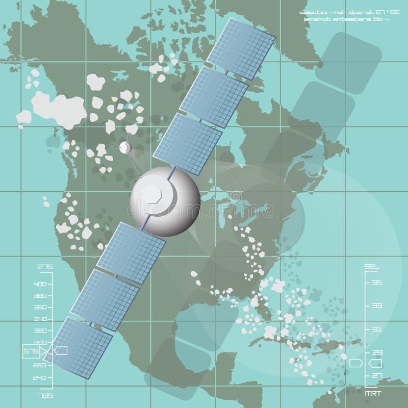 Illustrazione di vettore che descrive un satellite di comunicazioni fotografia stock libera da diritti