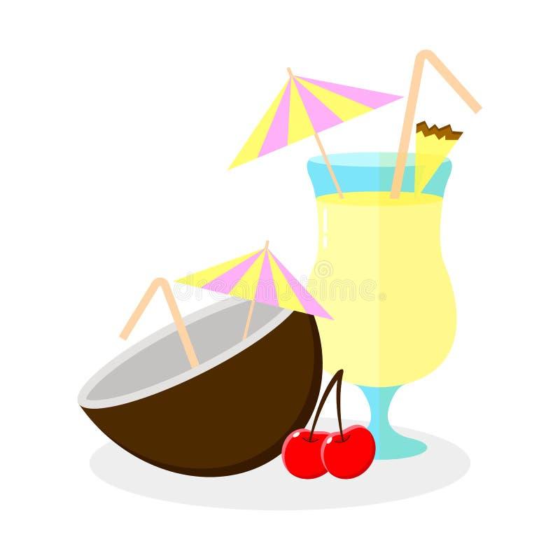 Illustrazione di vettore colada di pina del cocktail, noce di cocco royalty illustrazione gratis