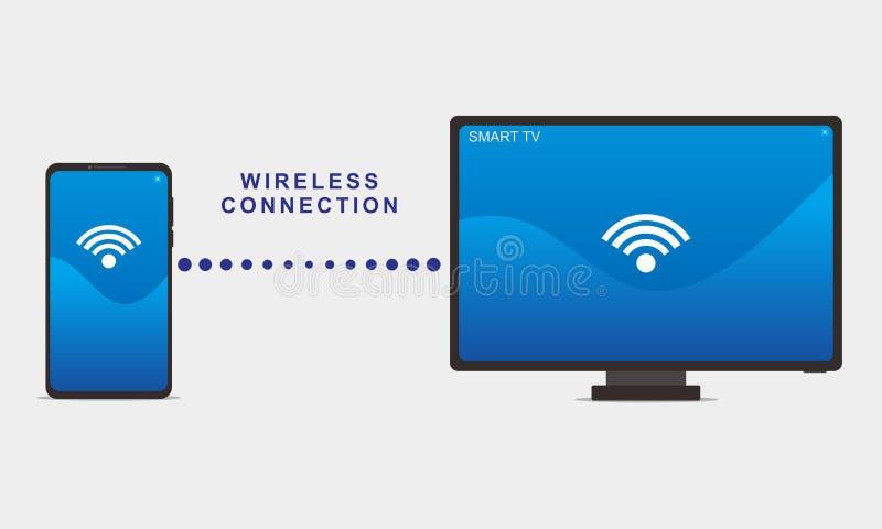 Illustrazione di vettore di collegamento fra lo smartphone e la TV astuta illustrazione di stock