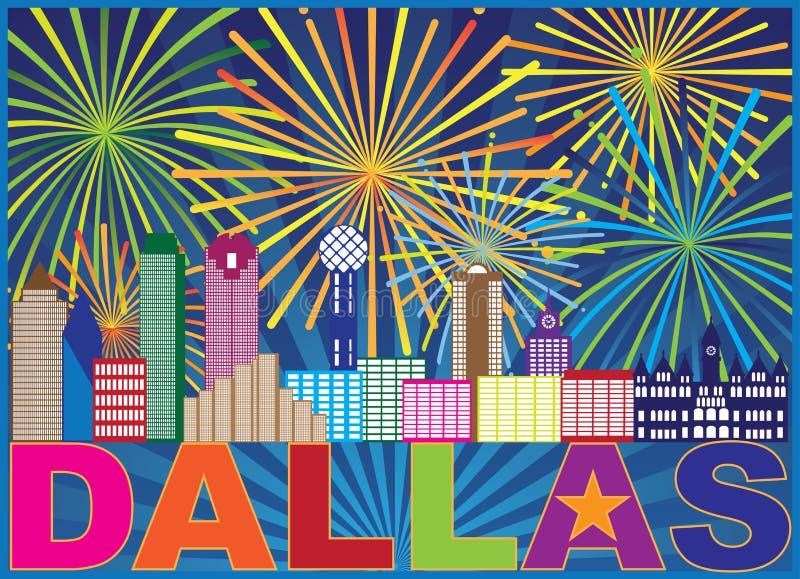 Illustrazione di vettore di colore di Dallas Skyline Lone Star Fireworks royalty illustrazione gratis