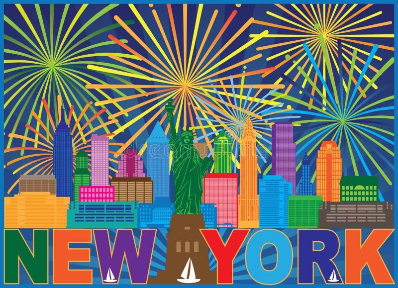 Illustrazione di vettore di colore dei fuochi d'artificio dell'orizzonte di New York royalty illustrazione gratis