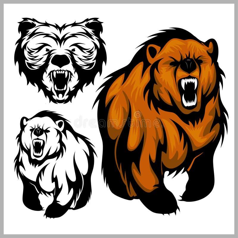 Illustrazione di vettore di colore dell'orso grigio dell'orso illustrazione di stock