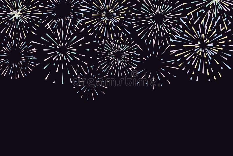 Illustrazione di vettore con differenti fuochi d'artificio variopinti illustrazione vettoriale