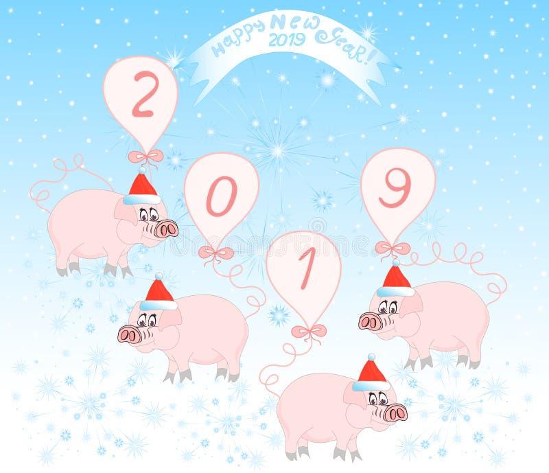 """Illustrazione di vettore con i bei maiali che desiderano """"buon anno 2019! """" royalty illustrazione gratis"""
