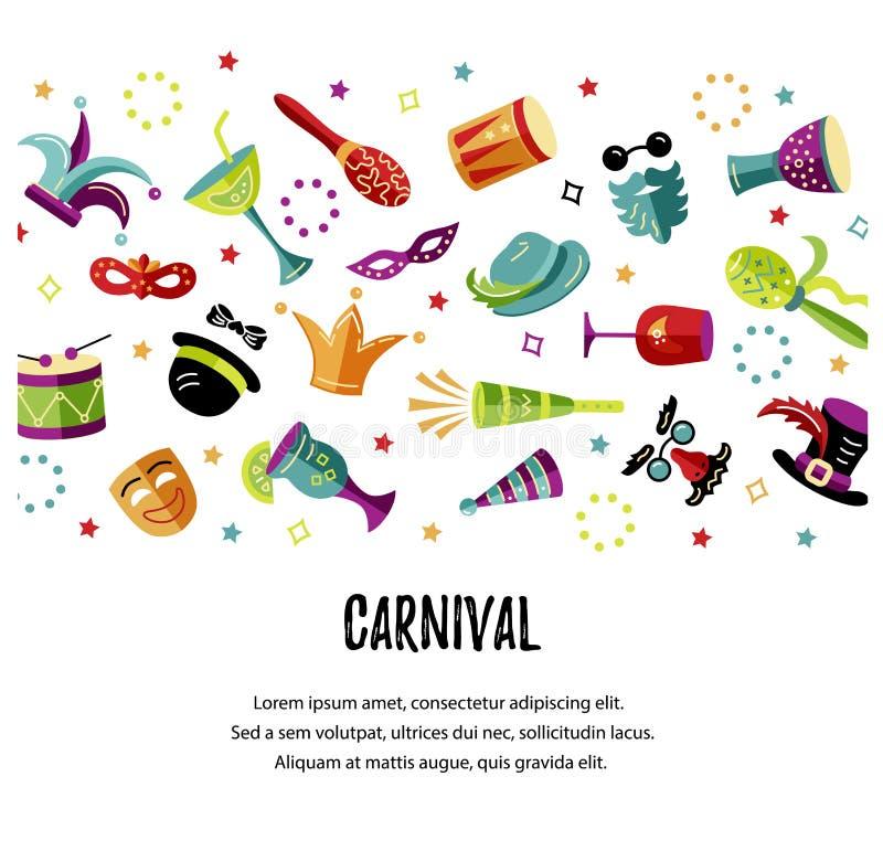 Illustrazione di vettore con il carnevale e gli oggetti celebratori illustrazione vettoriale