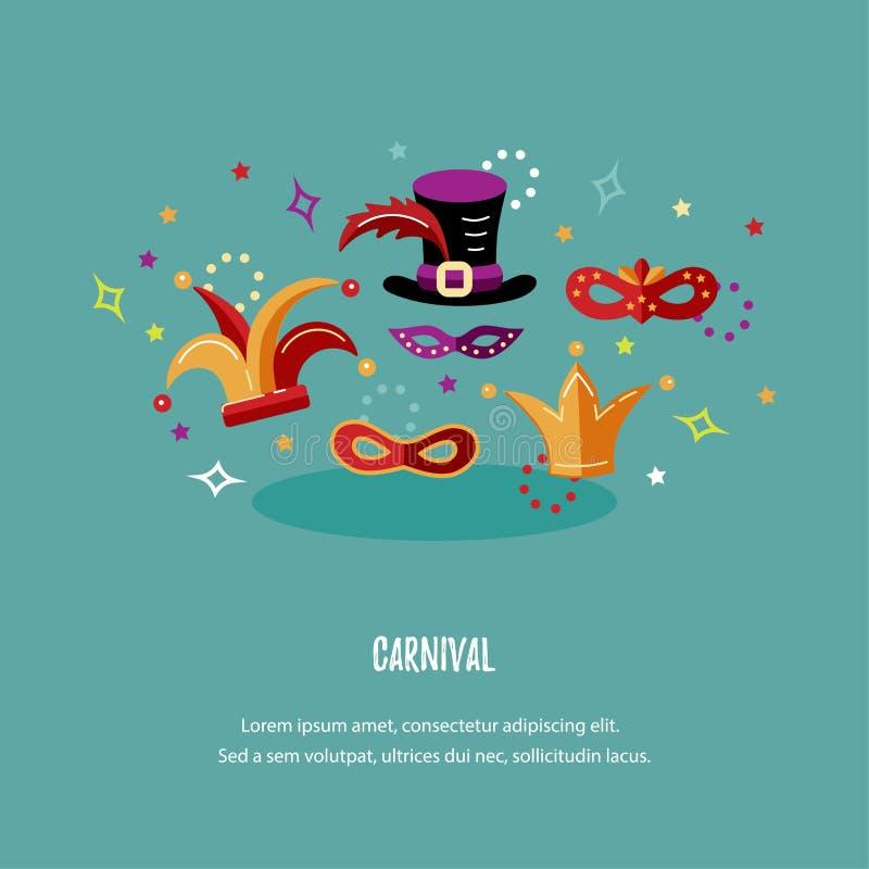 Illustrazione di vettore con il carnevale e gli oggetti celebratori royalty illustrazione gratis