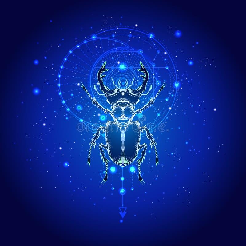 Illustrazione di vettore con il cervo volante disegnato a mano e simbolo geometrico sacro contro il cielo stellato Segno mistico  royalty illustrazione gratis