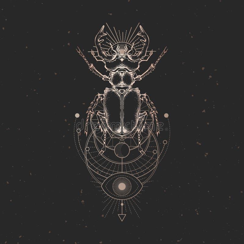 Illustrazione di vettore con il cervo volante disegnato a mano e simbolo geometrico sacro su fondo d'annata nero Segno mistico as illustrazione vettoriale