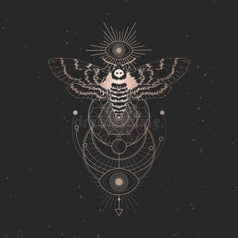 Illustrazione di vettore con il lepidottero capo morto disegnato a mano e simbolo geometrico sacro su fondo d'annata nero Segno m illustrazione vettoriale