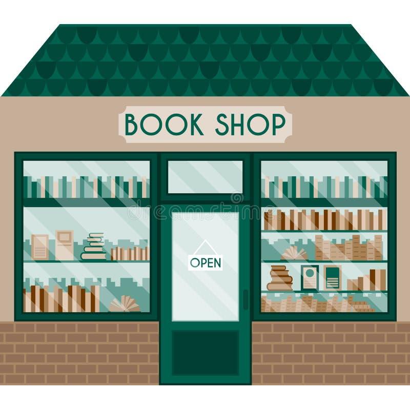 Illustrazione di vettore con il negozio di libro illustrazione di stock