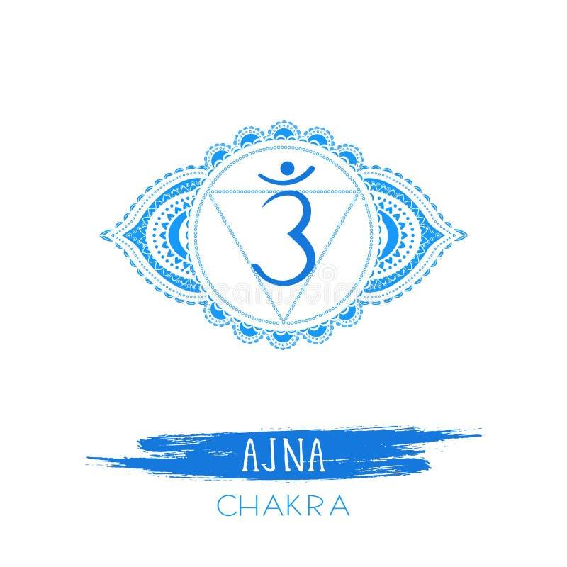 Illustrazione di vettore con il simbolo Ajna - chakra del terzo occhio ed elemento dell'acquerello su fondo bianco illustrazione di stock